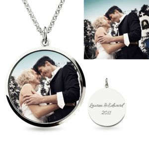 Engraved Epoxy Color Photography Necklace Sterling Silver