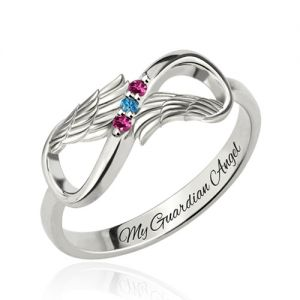Personalized Mother Day Ring with 3 Birthstones Platinum Plated