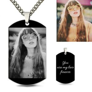 Photo-Engraved Black Titanium Steel Dog Tag Necklace
