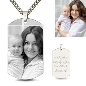 Engraved Titanium Steel Man's Dog Tag Photo Necklace