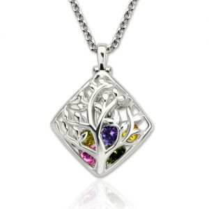 Rhombus Cage Family Tree Birthstone Necklace Platinum Plated