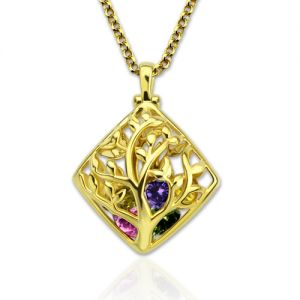 Rhombus Cage Family Tree Birthstone Necklace Gold Plated