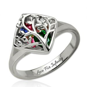 Personalized Mother's Cage Ring With Birthstones Platinum Plated