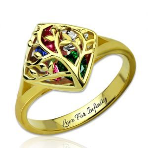 Engraved Family Tree Cage Ring With Heart Birthstones Gold Plated