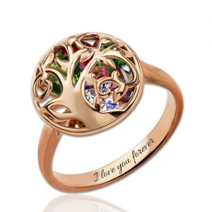 Round Cage Family Tree Ring With Heart Birthstones In Rose Gold