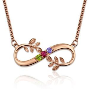 Tree Branch Infinity Necklace With Birthstones In Rose Gold