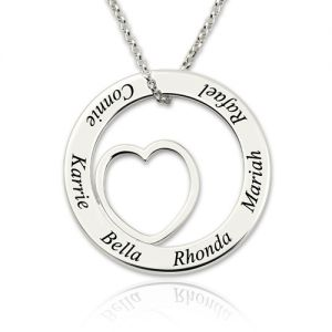 Engraved Heart Circle 6 Names Necklace Sterling Silver