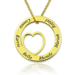 Engraved Heart Circle Name Necklace Gold Plated Silver