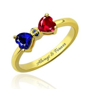 Personalized Heart Birthstones Bow Ring Gold Plated