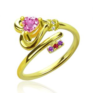 Key To Heart Ring With Birthstones Gold Plated