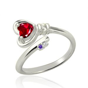 Key to Her Heart Ring with Birthstones Platinum Plated