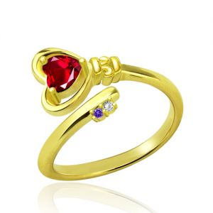 Key to Her Heart Ring with Birthstones Gold Plated