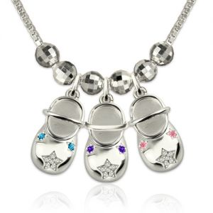 Engraved Baby Shoes Charms Necklace with Birthstones