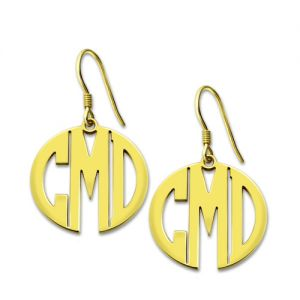 Personalized Block Monogram Earrings Gold Plated Silver