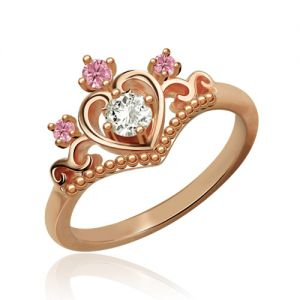 Princess Tiara Ring With Birthstone In Rose Gold