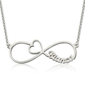 Infinity Name Necklace With Arrow Heart Sterling Silver