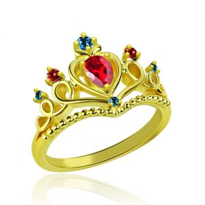 Princess Tiara Birthstone Promise Ring 18K Gold Plated
