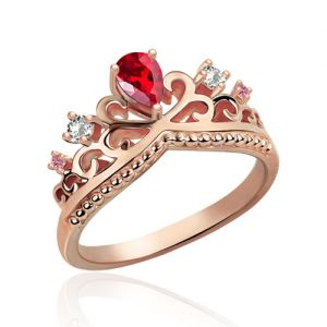 Romantic Birthstone Princess Crown In Rose Gold
