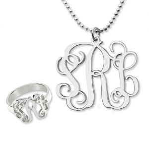 Artistic Monogram Ring & Necklace Set Sterling Silver