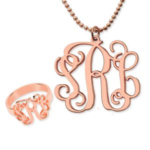 Mix & Match Monogram Ring & Necklace Set In Rose Gold