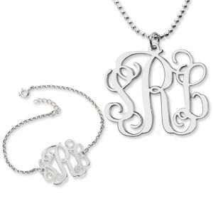 Personalized Monogram Bracelet & Necklace Set Sterling Silver