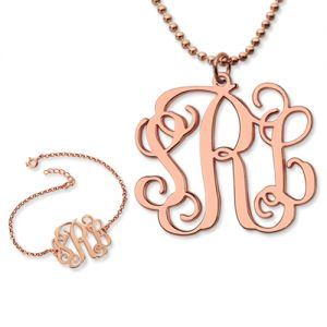 Personalize Monogram Bracelet & Necklace Set In Rose Gold