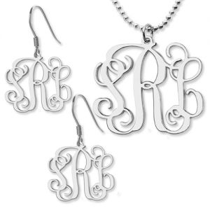 Customized Small Monogram Necklace & Earrings Set Sterling Silver