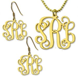 Customized Small Monogram Necklace & Earrings Set Gold Plated