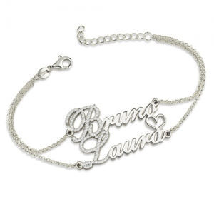 Two Names With Birthstones Double Chain Bracelet Sterling Silver