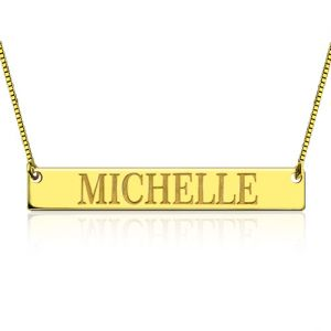 Engraved Name Bar Necklace Gold Plated Silver