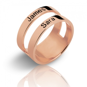 Customized Mother's Engraved Two Names Ring In Rose Gold