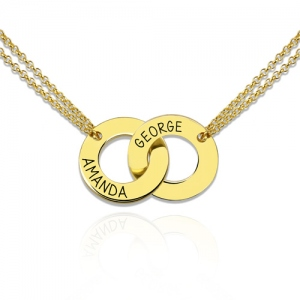 Engraved Interlocking Two-Circle Name Necklace Gold Plated Silver