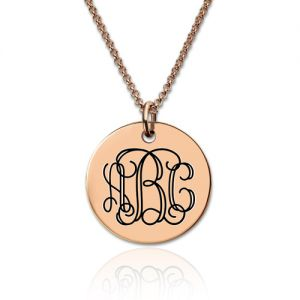 Engraved Disc Monogram Necklace In Rose Gold