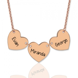 Custom Engraved 3 Hearts Name Necklace In Rose Gold
