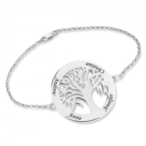 Engraved 4 Names Circle Family Tree Bracelet Sterling Silver