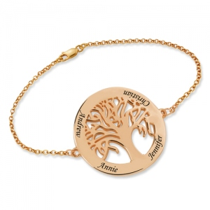 Personalized Engraved Family Tree 4 Names Bracelet In Rose Gold