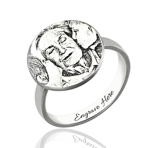 Personalized Photo-Engraved Disc Ring In Sterling Silver