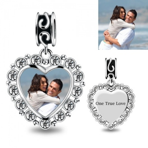 Engraved Photo Heart Charm With Crystal