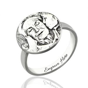 Personalized Memory Ring Engraved Name & Photo