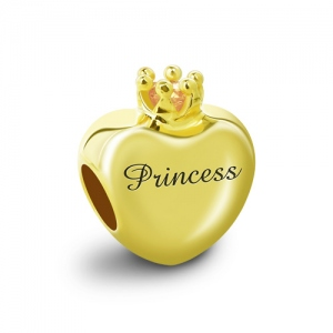 Engraved Birthstone Crown Heart Charm Gold