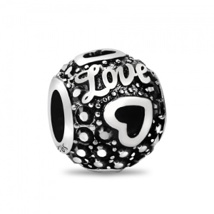 Love Heart Bead With Black Birthstone
