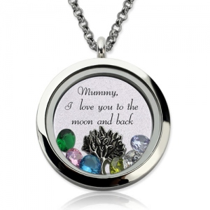Personalized Birthstone Memory Locket Engraved Phrase