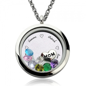Personalized Memory Locket Necklace with Birthstone