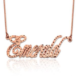Personalized Champagne Style CNC Name Necklace In Rose Gold