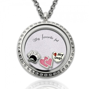 Personalized Heart Floating Locket With Paw Print