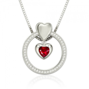 Custom Heart Birthstone Circle Necklace Sterling Silver
