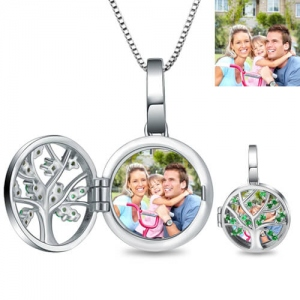 Engraved Unique Family Tree Photo Locket Sterling Sliver