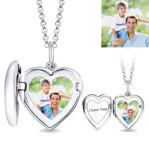 Personalized Heart Photo Locket Engravable Name or Date