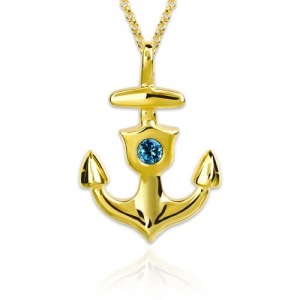 Personalized Anchor Necklace With Birthstone Gold Plated