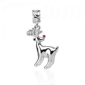 Beautifully Crafted Silver Christmas Reindeer Charm